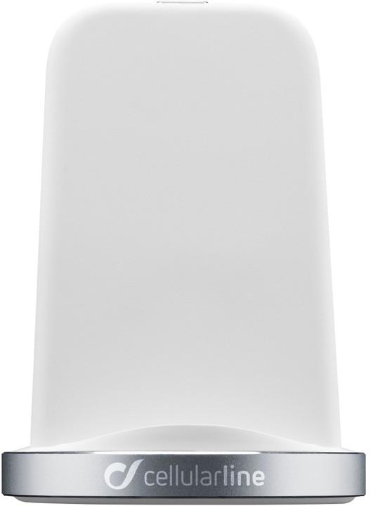CellularLine stojánek pro bezdrátové nabíjení WIRELESS FAST CHARGER STAND, Qi standard, bílá
