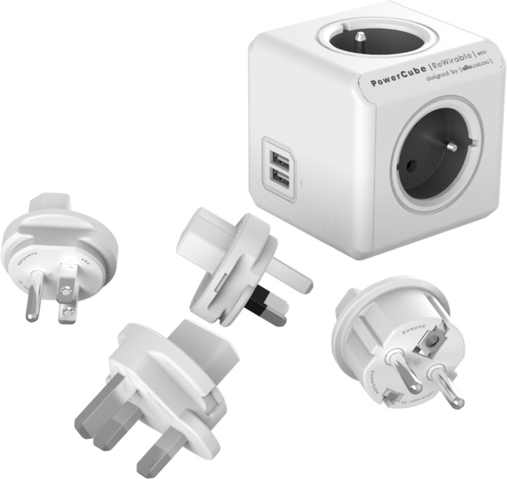 PowerCube REWIRABLE USB + Travel Plugs rozbočka 4 zásuvka, šedá
