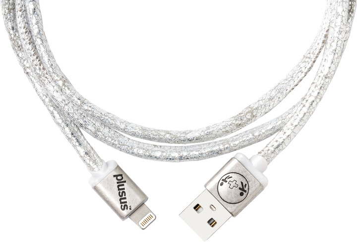 PlusUs LifeStar Premium Handcrafted USB Charge & Sync cable (1m) Lightning - White Metallic / Grey