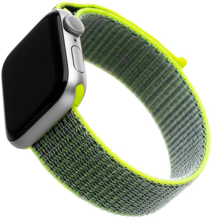 FIXED nylonový řemínek pro Apple Watch, 42/44mm, tmavě limetková