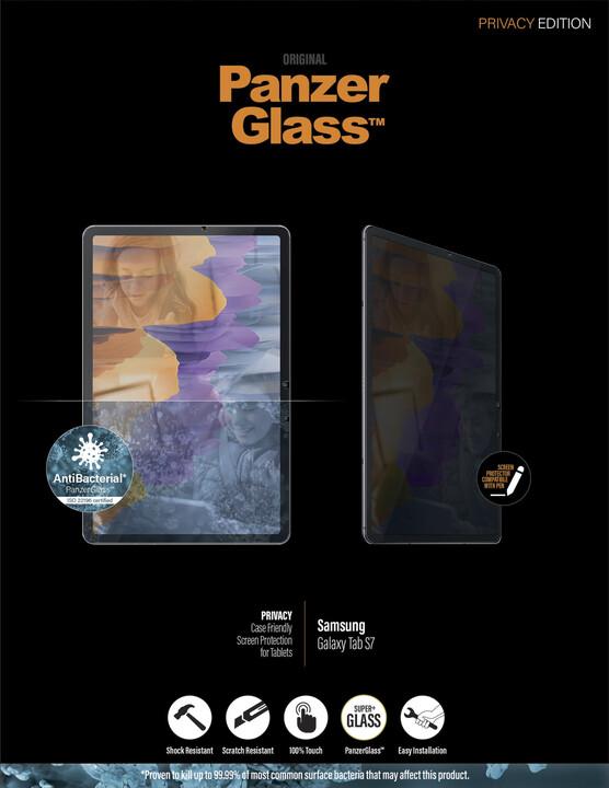 PanzerGlass ochranné sklo Edge-to-Edge pro Samsung Galaxy Tab S7, antibakteriální, Privacy, čirá