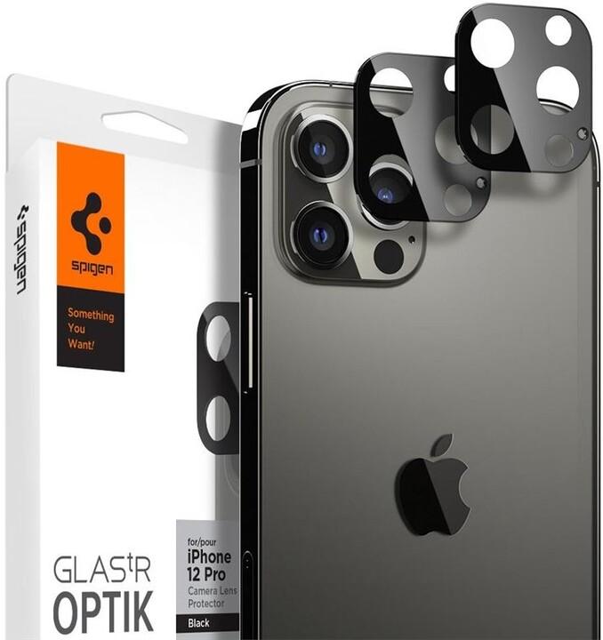 Spigen ochranné sklo tR Optik Lens pro iPhone 12 Pro Max, 2ks, černá