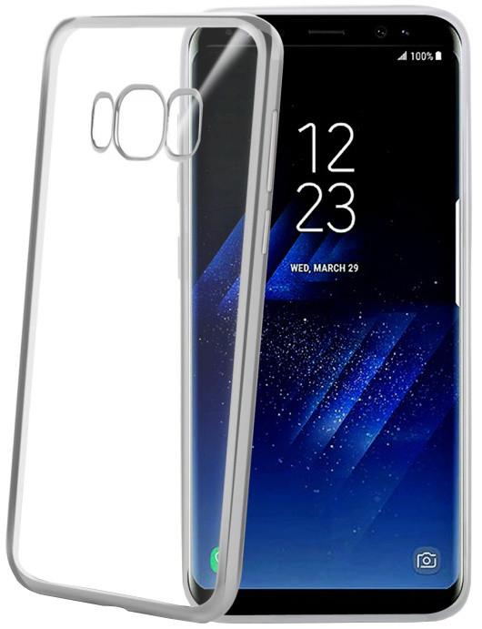 CELLY Laser - lemování s kovovým efektem TPU pouzdro pro Samsung Galaxy S8 Plus, stříbrné