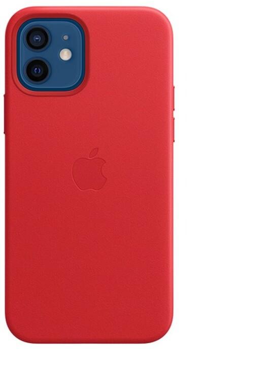Apple kožený kryt s MagSafe pro iPhone 12/12 Pro, (PRODUCT)RED - červená