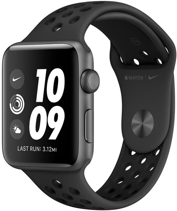 Apple Watch Nike+ Series 3 GPS 38mm antracitový/černý sportovní řemínek Nike