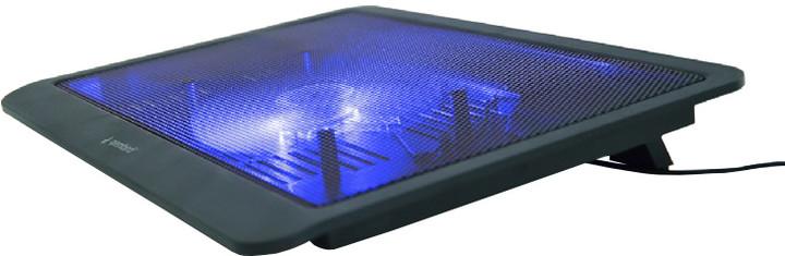 """Gembird podstavec pod notebook, pro notebooky do 15"""", 125m větrák, LED, černá"""