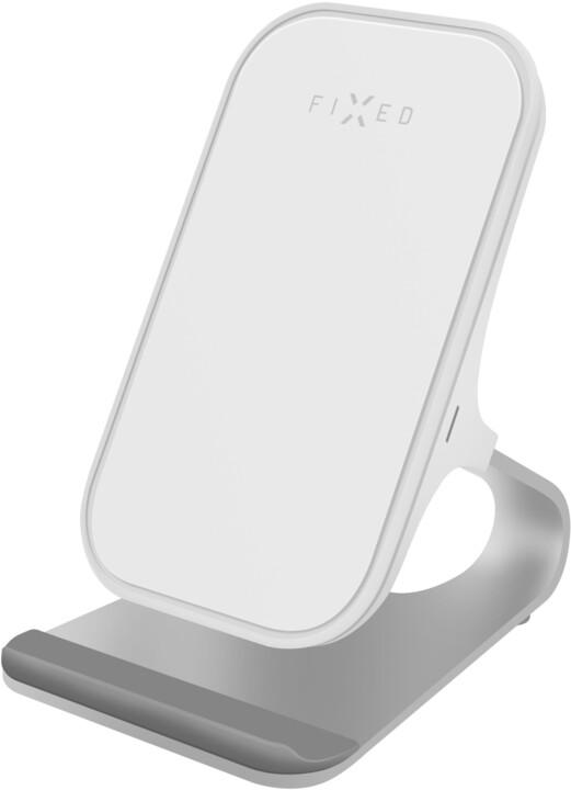 FIXED stojánek s bezdrátovým nabíjením 15W, bílá
