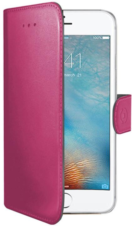 CELLY Wally pouzdro typu kniha pro Apple iPhone 7 Plus, PU kůže, růžová