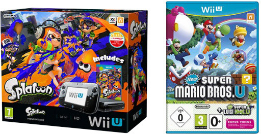 Nintendo Wii U Premium Pack, černá + Splatoon + New Super Mario Bros U + New Super Luigi U