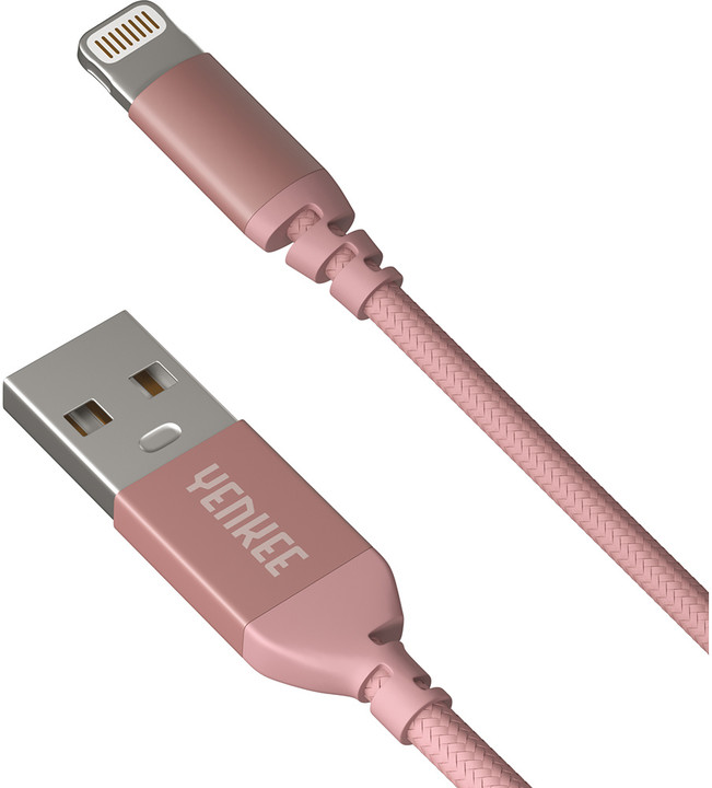 YENKEE YCU 611 USB / lightning 1m, růžový