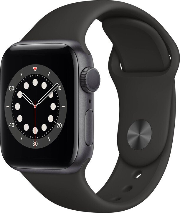 Apple Watch Series 6, 40mm, Space Gray, Black Sport Band