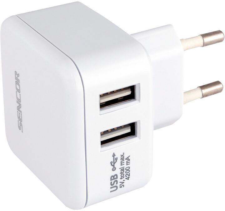 SENCOR SCH 640 síťová nabíječka, 2xUSB, 5V/4,2A, bílá