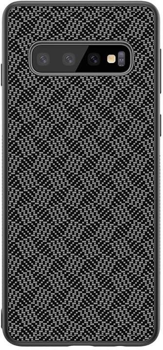 Nillkin Synthetic Fiber ochranný zadní kryt Plaid pro Samsung G973 Galaxy S10, černá