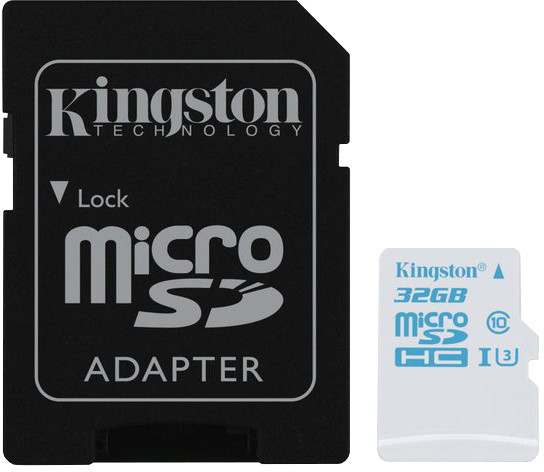 Kingston Action Card Micro SDHC 32GB Class 10 UHS-I U3 + SD adaptér