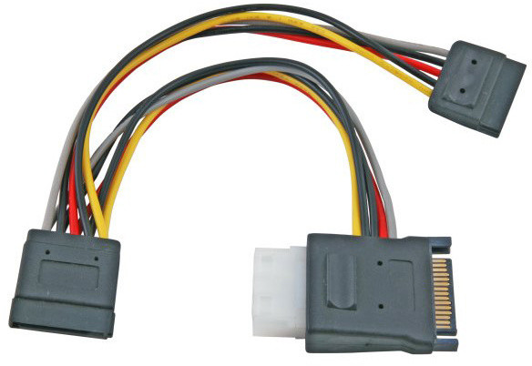 "PremiumCord napájecí Y kabel k HDD Serial ATA na 5,25"" female + 2x SATA female 15cm"