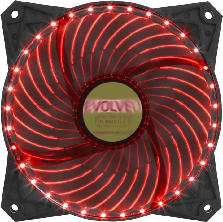 Evolveo ventilátor 120mm, LED 33 bodů, červený