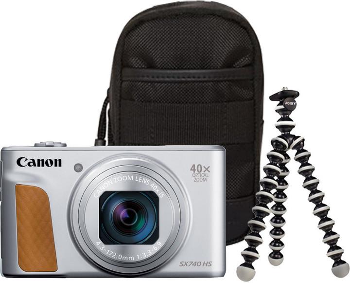 Canon PowerShot SX740 HS, Travel Kit, stříbrná