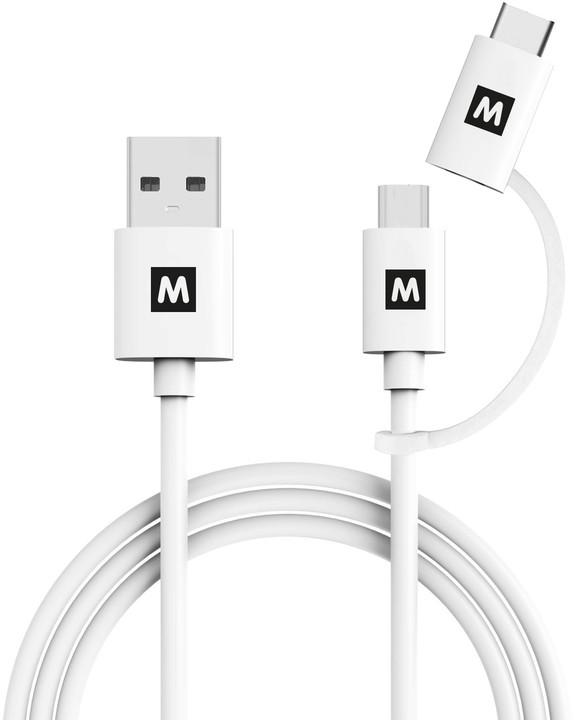 MAX MUC1101W kabel 2v1 USB/micro USB, 1m, bílá