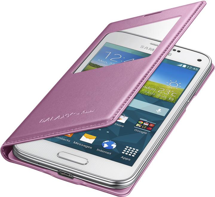 Samsung flipové pouzdro s oknem EF-CG800B pro Galaxy S5 mini, růžová