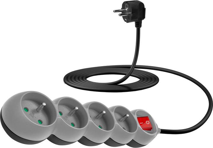CONNECT IT prodlužovací kabel 230 V, 4 zásuvky, 3 m, s vypínačem (šedý)