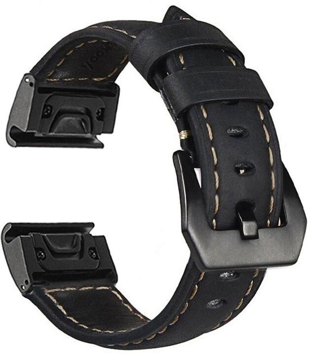 MAX kožený řemínek MGS04 pro Garmin Fenix5S/5S PLus/6S, 26mm, černá