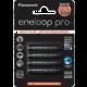 Panasonic 4HCDE/4BE ENELOOP PRO AAA 4x  + PANASONIC RP HJE125E-R sluchátka, červená (v ceně 299,-)