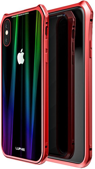 Luphie Aurora Magnet Hard Case Glass pro iPhone X, červeno/černá