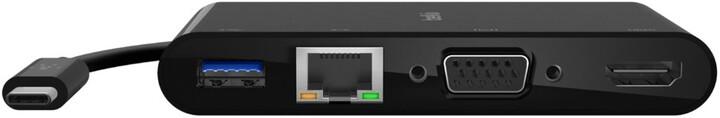 Belkin multimediální adaptér USB-C - USB-A 3.0, HDMI, VGA, RJ45, 4K@60Hz, PD, 100W, černá