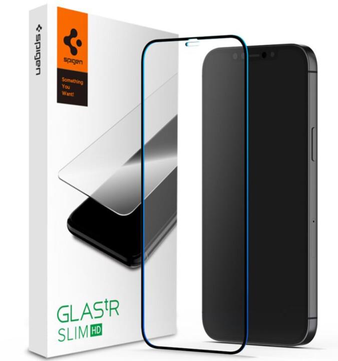 Spigen ochranné sklo FC HD pro iPhone 12 Pro Max, černá