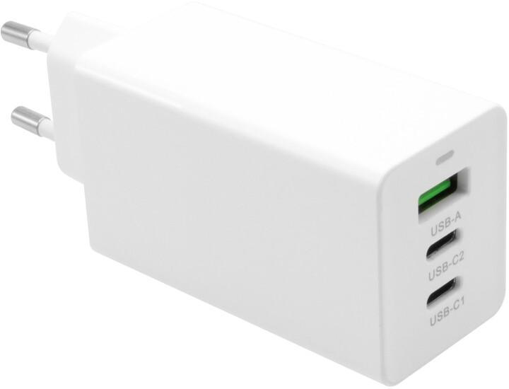 FIXED síťová GaN nabíječka s 2xUSB-C a USB výstupem, podpora PD, 65W, bílá