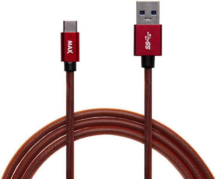 MAX kabel USB-C opletený, 2m, červená