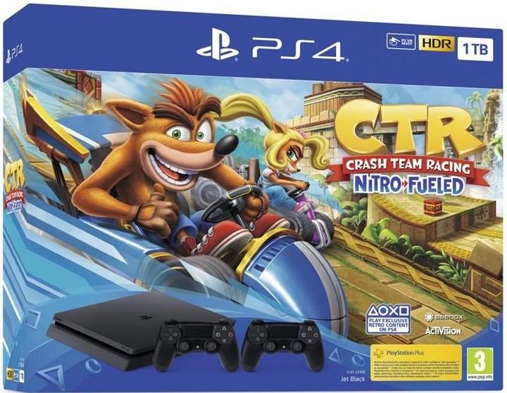 PlayStation 4 Slim, 1TB, černá + 2x DS4 + Crash Team Racing