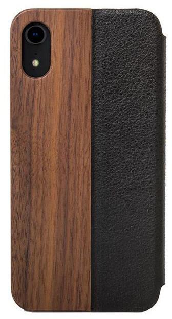 Woodcessories flipové pouzdro pro iPhone Xr, kožené, Walnut