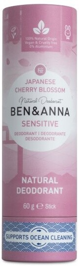 Deodorant Ben & Anna Sensitive, tuhý, třešňový květ, 60 g