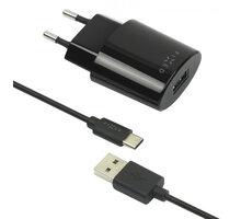 FIXED síťová nabíječka s odnímatelným USB-C kabelem, 2,4A, černá - FIXC-UC-BK