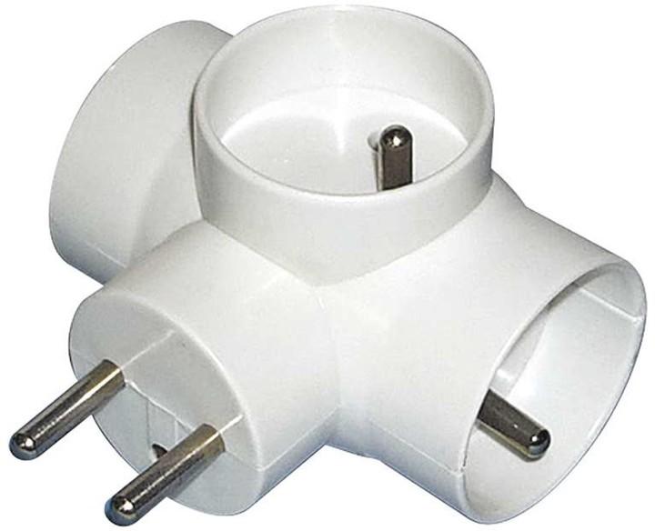 EMOS zásuvka rozbočovací 3x kulatá, bílá