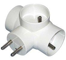 EMOS zásuvka rozbočovací 3x kulatá, bílá - P0024
