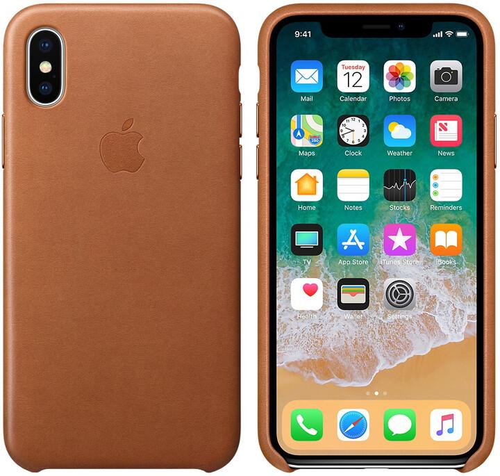 Apple kožený kryt na iPhone X, sedlově hnědá
