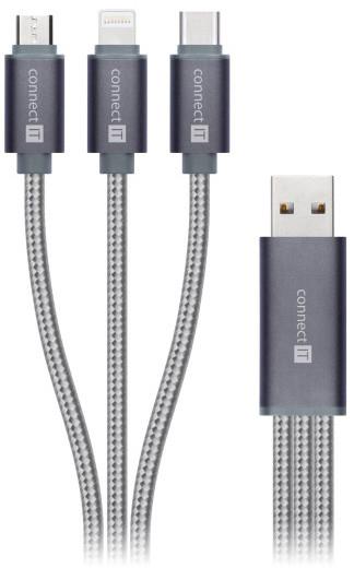 CONNECT IT Wirez 3in1 USB-C & Micro USB & Lightning, 0,2 m, stříbrno/šedá