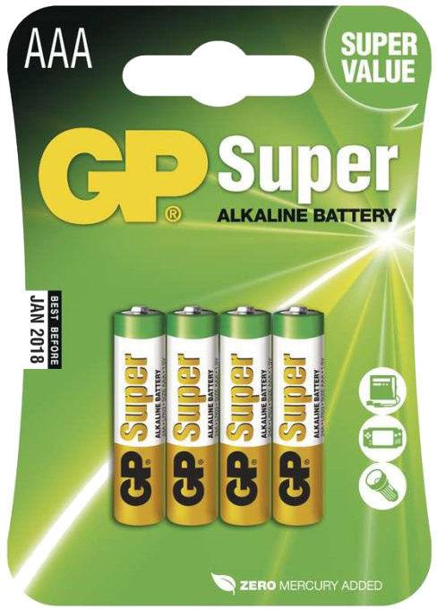 GP Super Value, alkalická, AAA, 4ks LR03