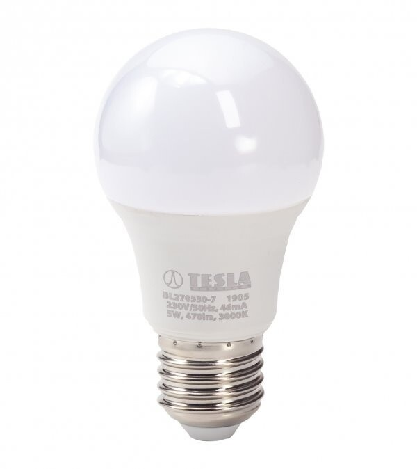 TESLA LED žárovka BULB, E27, 5W, 3000K, teplá bílá