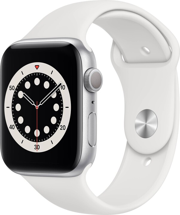 Apple Watch Series 6, 44mm, Silver, White Sport Band