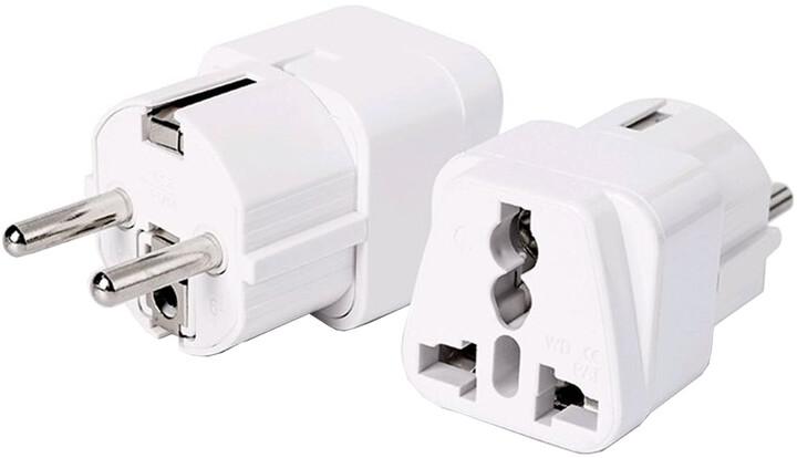 C-TECH univerzální adaptér 110-230V, bílá
