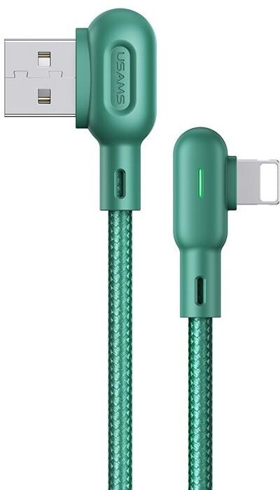 USAMS SJ455 U57 kabel Lightning braided pravý úhel s osvětlením 1,2m, zelená