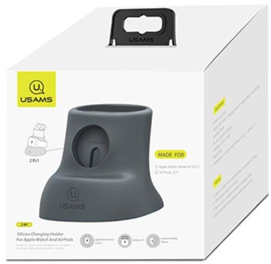 USAMS nabíjecí stojánek ZJ051 pro Apple Watch/Airpods, šedá