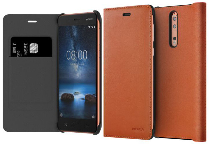 Nokia 8 Leather Flip Cover, hnědá