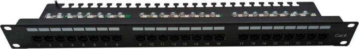 """Masterlan Patch panel 19"""", 24xRJ45, CAT5e, vyvazovací lišta, 1U, černá"""
