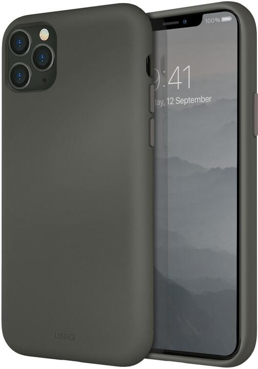 UNIQ Lino Hue Hybrid pouzdro pro iPhone 11 Pro Max, Moss, šedá