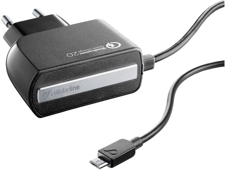 CellularLine nabíječka Qualcom Quick Charge 2.0 s konektorem microUSB, černá