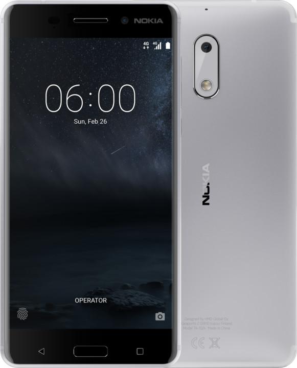 Nokia 6, Dual Sim, stříbrná